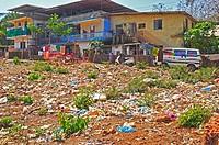 roadside garbage, Goa, India.
