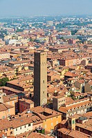 Bologna, Emilia-Romagna, Italy. View from Torre Asinelli to Torre Prendiparte and historic centre of the city.