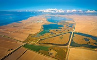 Aerial view of the Llacuna de l´Encanyissada in the Ebro Delta. Catalonia, Spain