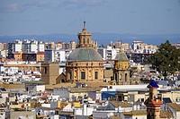 View of Sevilla from the top of Metropol Parasol, known as Setas de Sevilla, the Mushrooms, Sevilla, Andalusia, Spain.
