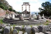 Temple of Athena, Delphi archaeological site, Sterea Hellas, Greece, Europe.