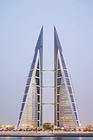 View of World Trade Center in Manama in Kingdom of Bahrain.