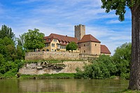 The medieval Grafenburg Castle and nowadays townhall of Lauffen near Heilbronn, Germany.