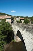 View at bar Le Pont and the bridge over the river Le Chassezac, close to the village Les Vans, Ardèche, Rhône-Alpes, France, Europe.