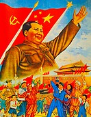 "China- Propaganda poster, 1949 : """"All unite behind Mao""""."