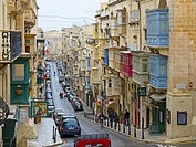 Island Malta, Mediterranean Sea, Old town of Valetta with typical balconies.