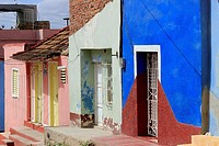 Street scene, colorful houses with iron gates, Trinidad, Cuba