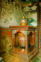 Prayer Wheel in Village Chorten. Paro Valley, Bhutan