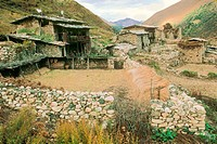 Very old village in remote Himalayan valley. Bhutan.