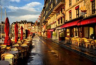 empty streets of old town of Honfleur in early morning, Viux Bassin, Calvados, Normandy, France.
