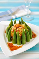 Okra with prawns.