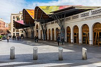 Europe, Spain, Barcelona, Mercat de Santa Caterina, Market Holy Catherine is the latest market built in Barcelona. Totally renovated in 2005 with bril...