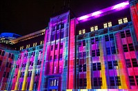 Facade of the Museum of Contemporary Art at Circular Quay lights up during Vivid Sydney 2015.
