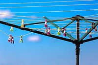 clothes pegs on rotary washing line.