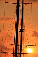 Masts in the sunset. Maremagnum area, Port Vell, Barcelona, Catalonia, Spain