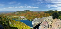 Dixville Notch - Panoramic of Lake Gloriette in Dixville, New Hampshire USA from Table Rock during the autumn months. The Balsams Grand Resort is in v...