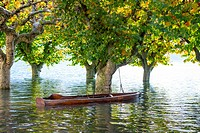 Boat on a flooding alpine lake Maggiore with trees in Ascona, Switzerland.
