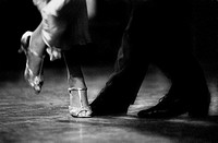 Feet Detail of Couple Dancing Argentinian Tango. . . .