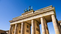 brandenburger tor berlin with very blue summer sky.
