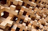 MILAN, ITALY - June 24: detail of wood joints at Japan pavillon , shot on jun 24 2015 Milan, Italy.