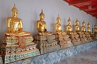 View`s of the Buddha in Wat Pho - Temple of the Reclining Buddha, its official name is Wat Phra Chetuphon Vimolmangklararm Rajwaramahaviharn, Phra Nak...