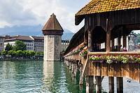 The Wasserturm on the Kapellbrucke in Lucerne, Switzerland.