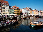 Yachts and traditional boats in the Nyhavn harbour area,Copenhagen,Denmark.