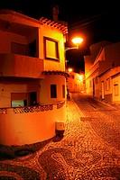 Europe, Portugal, Western Algarve, Faro district , Lagos, street scene at night, old town
