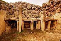 Megalithic temples of Ggantija in Xaghra, Gozo island, Malta.