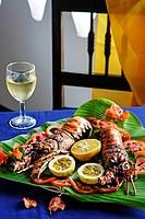 Grilled Lobster, Chapwani Island. Zanzibar, Tanzania.