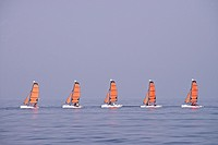 Beach scene, sailing school boats, Trouville sur Mer, 14, Normandy, France.