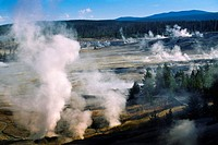 USA, Wyoming, Yellowstone National Park, Geothermal steam rising out. . .