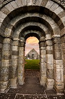 Romanesque doorway and church remains at Killeshin near Carlow in Ireland. Doorway is late 900 AD.