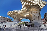 The Metropol Parasol Mushrooms Seville Andalusia Spain. World&39, s largest wooden structure. Completed in 2011 designed by Jurgen Mayer-Hermann.
