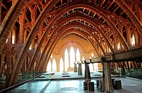 La Catedral del Vi or the Cathedral of Wine is a Noucentiste building 1922 used like a wine cellar. Pinell de Brai, Tarragona, Spain