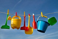 Summer time representation of beach toys for children.