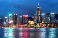 Hong Kong Island from Kowloon at dusk.
