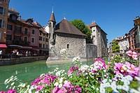 Annecy, Haute-Savoie department, Rhone-Alpes, France. Palais de l´Isle in the middle of the Thiou river.