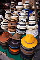 Hats in a shop at the market, Pisaq, Cuzco Region, Peru, South America.