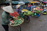 Fruit and vegetable sellers in Hanoi.