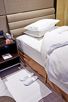 Turn down service in a luxury hotel.