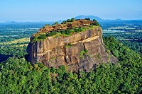 Sri Lanka, Ceylon, North Central Province, Sigiriya Lion Rock fortress, UNESCO world heritage site, aerial view.