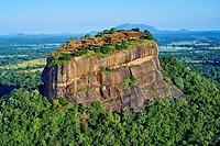 Sri Lanka, Ceylon, North Central Province, Sigiriya Lion Rock fortress, UNESCO world heritage site, aerial view.