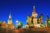 The Kremlin and Saint Basil´s Cathedral at Dusk, Moscow, Russia.