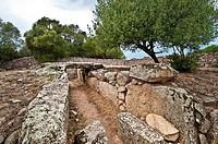 Italy,Sardegna,Arzachena,prehistoric site,Tomba di giganti Moru,Moru Giants´Tomb, around the 13th centuryBC.