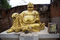 Laughing fat Buddha Ayutthaya City, Thailand, Asia. Near Wat Phu Khao Thong, Golden Mount. Religion, ruined, Symbol, Smiling, Statue