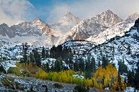 Clearing fall snowstorm over the high peaks of the Eastern Sierra, California.