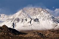 Basin Mountain after first fall snowstorm, Eastern Sierra, California.