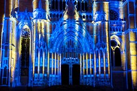 """""""""""La Cathédrale Infinie"""" spectacle in the cathedral of Beaubais, Oise, Picardie, France."