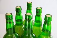 Six bottles of cider. Asturias, Spain.